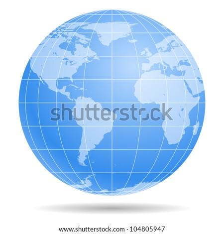 Blue Earth globe isolated on white background 2 - stock photo