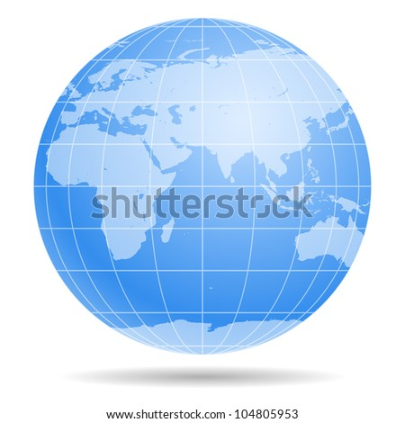 Blue Earth globe isolated on white background 1 - stock photo