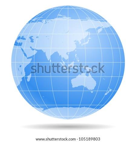 Blue Earth globe isolated on white background - stock photo