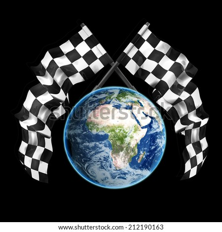 blue Earth globe Two crossed checkered flags isolated on black background High resolution 3d render Elements of this image furnished by NASA - stock photo