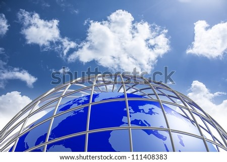 Blue Earth Planet in jail by metal bars - stock photo