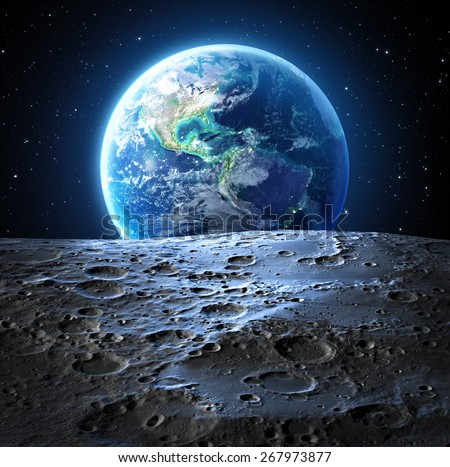 blue earth view from moon surface - Usa - Elements are furnished by NASA   - stock photo