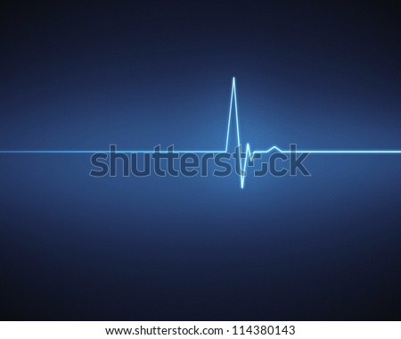 Blue ECG heartbeat on black background - stock photo