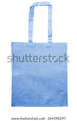 blue eco bag isolated on white with clipping path - stock photo