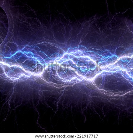 Blue electric lightning - abstract electrical background - stock photo