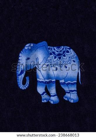 Blue elephant print on facbric . - stock photo