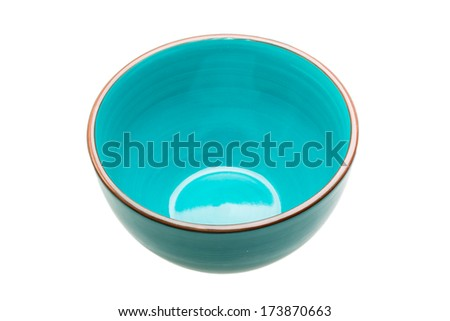 Blue empty bowl isolated - stock photo