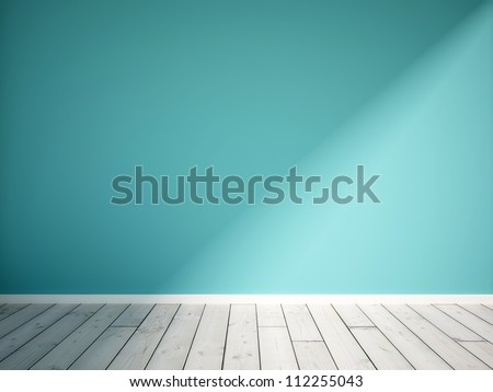 blue empty interior - stock photo