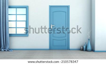 blue empty interior with door and window - stock photo
