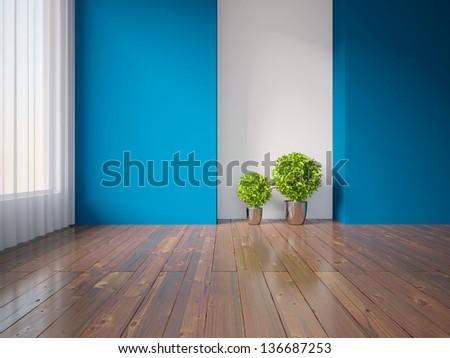 blue empty interior with plants - stock photo