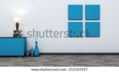 blue empty interior with vases and lamp - stock photo