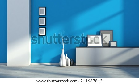 blue empty interior with white vases and blank picture - stock photo
