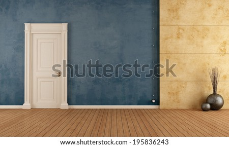 Blue empty vintage room with old door and concrete panel - rendering - stock photo