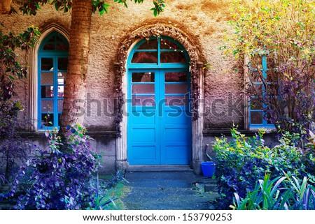 Blue Entrance - stock photo