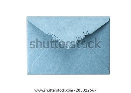 Blue Envelope document isolated on white background - stock photo