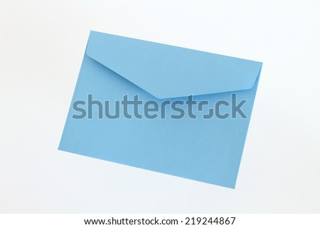 Blue envelope on white background - stock photo