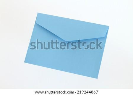 Blue envelope on white background - stock photo