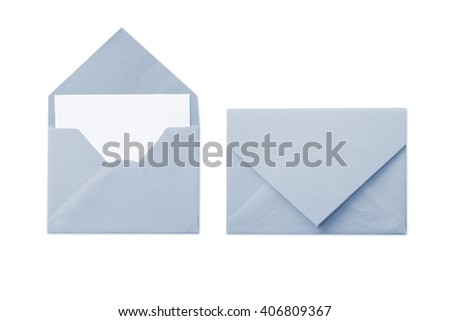 Blue envelope with blank white card isolated on white background  - stock photo