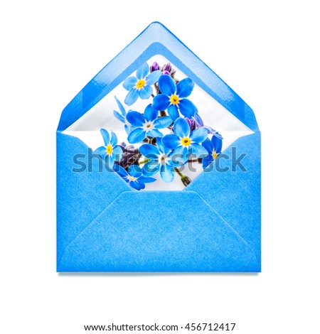 Blue envelope with forget me not flowers. Single object isolated on white background clipping path included. Floral design elements