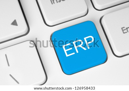 Blue ERP keyboard button - stock photo