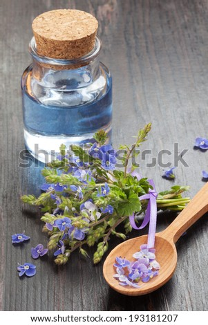 blue essential oil in glass bottle, wooden spoon and healing flowers on table - stock photo