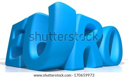 Blue Euro - stock photo