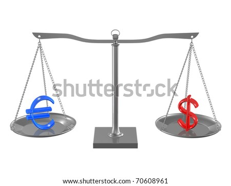Blue Euro and Red Dollar on Silver balance on white isolated background - stock photo
