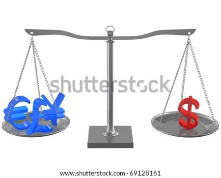 Blue Euro, Pound, Yen and Red Dollar on Silver balance on white isolated background - stock photo