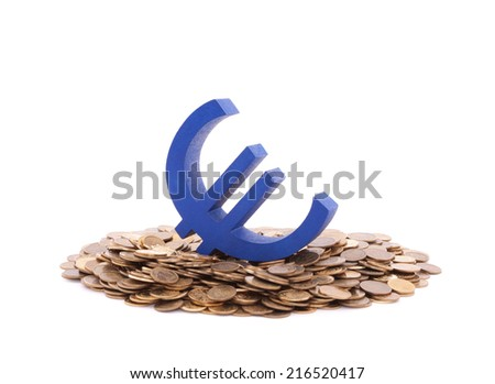 Blue euro symbol with pile of coins - stock photo