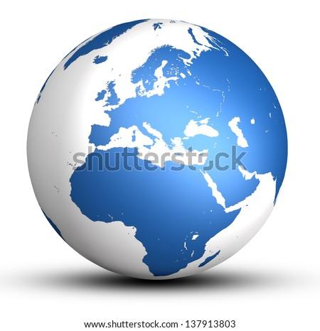 blue europe world globe with shadow isolated on white background - stock photo