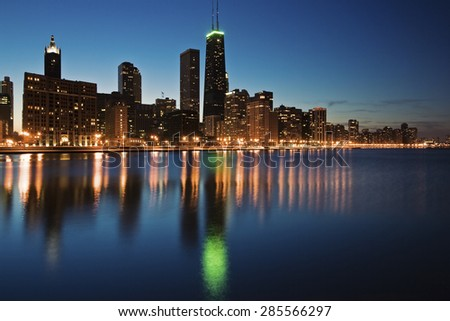 Blue evening in Chicago - Gold Coast with Hancock Builidng. - stock photo