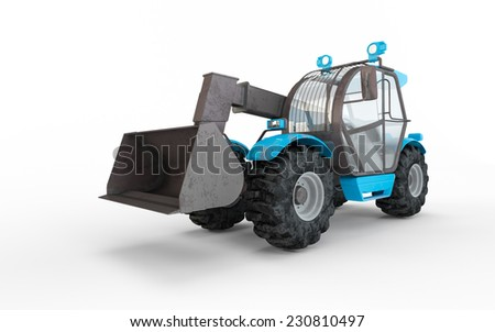 Blue Excavator isolated on white background  - stock photo