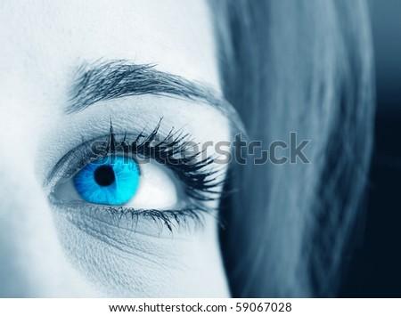 Blue eye close-up - stock photo
