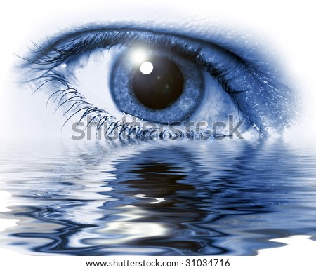 Blue eye close-up with light flare on white background and water glare - stock photo