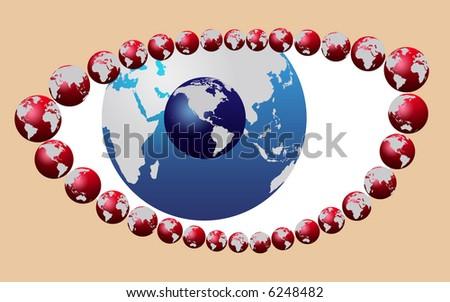 blue eye made of world map globe - stock photo