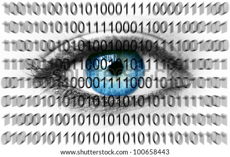 Blue eye with binary numbers - stock photo