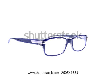 blue eyeglasses isolated on white background - stock photo