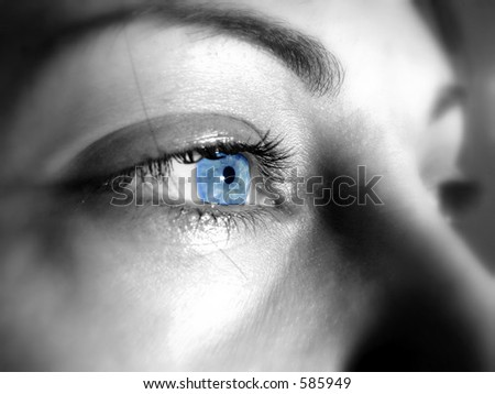 Blue  eyes of a beautiful woman - stock photo