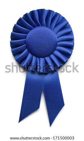 Blue Fabric Award Ribbon with Copy Space Isolated on White Background. - stock photo
