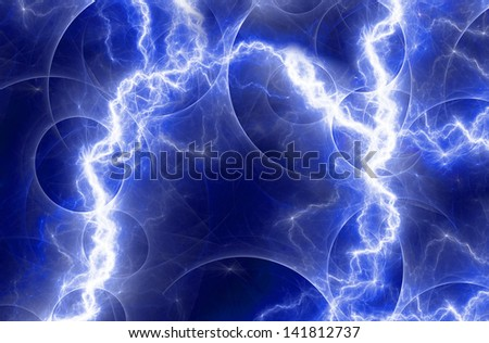 Blue fantasy lightning - stock photo