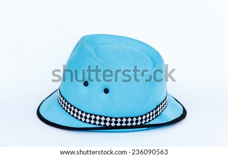 Blue fashion hat isolated on a white background - stock photo