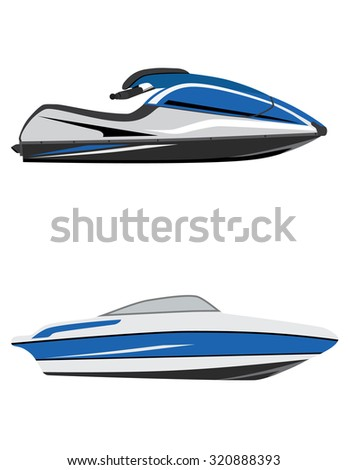 Blue fast water scooter and boat, luxury boat, jet ski, water sport, water transport - stock photo