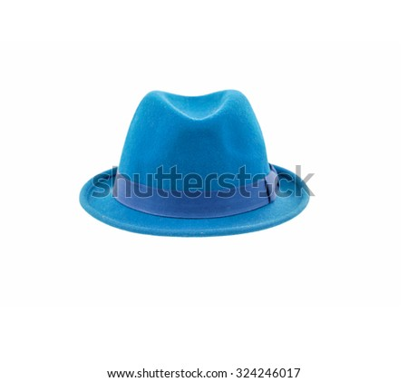 blue fedora hat isolated  - stock photo