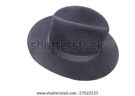 Blue felt fedora or sheriff's style hat with hatband isolated on a white background - stock photo