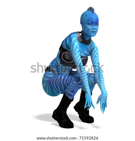 blue female alien. 3D rendering with clipping path and shadow over white - stock photo
