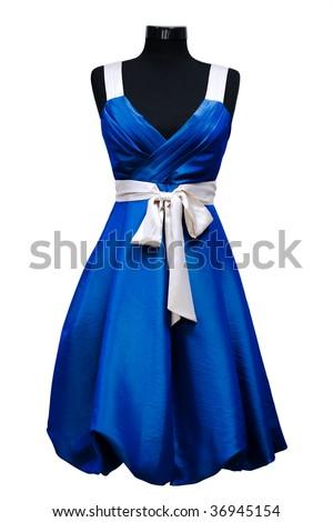 blue female dress on a white background - stock photo