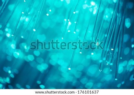 blue fiber optics background with hearts - stock photo
