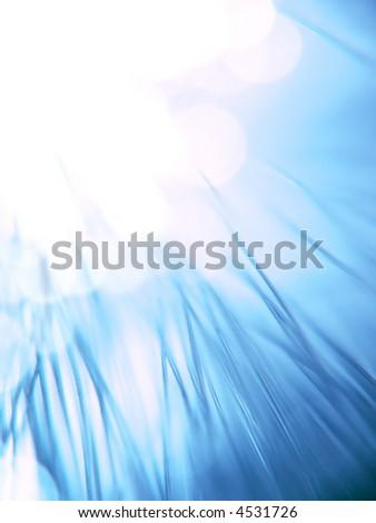 blue fiber optics strands close-up - stock photo