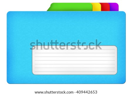 Blue file folder illustration with colored bookmarks and blank area isolated over white background - stock photo