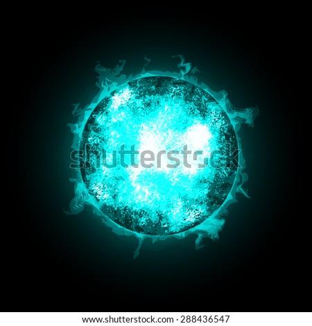 Blue Fire Ball Planet. World on fire. Illustration on black background. Raster version - stock photo